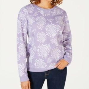 Karen Scott XLarge Floral Print Fleece Sweatshirt